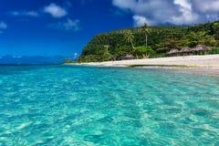 Plage naturelle vibrante tropicale sur l'île du Samoa avec les palmiers a Photographie stock libre de droits