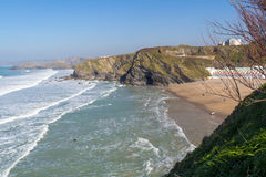 Plage Newquay les Cornouailles de Tolcarne Photo stock