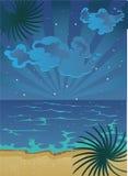 Plage nocturne d'été de dessin animé avec des nuages sur le ciel Image stock