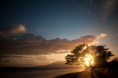 Plage paisible sunest Photographie stock libre de droits