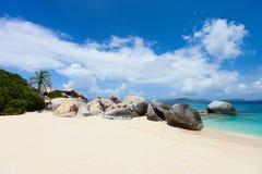 Plage parfaite de photo chez les Caraïbe Photo libre de droits