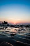 Plage Pier Sun Rise de Penarth Photo stock