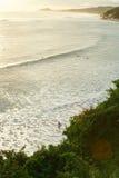 Plage pour surfer le temps de coucher du soleil Photos stock