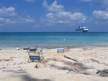 Plage privée des Bahamas Photographie stock