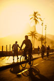 Plage Rio de Janeiro Brazil d'Ipanema de trottoir de chemin de vélo Photo stock