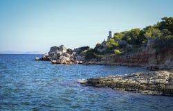 Plage rocheuse marine Photos libres de droits