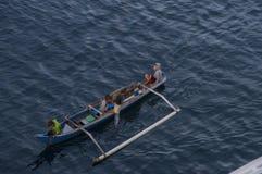 Plage rose - Indonésie - enfants dans un bateau de pêche photo libre de droits