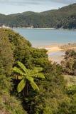 Plage sablonneuse à la baie du Tonga en Abel Tasman Images libres de droits