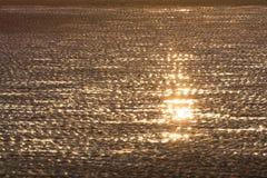 Plage sablonneuse au coucher du soleil Photos libres de droits