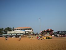 Plage sablonneuse chez Calangute, Inde, Goa Image stock
