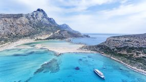 Plage sablonneuse, lagune bleue, Balos, Crète, île grecque Photographie stock