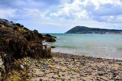 Plage sauvage à la côte de baie Photographie stock libre de droits