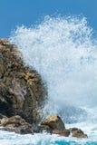 Plage sauvage de l'île de Lefkas en Grèce photographie stock