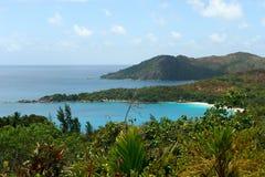 Plage Seychelles. Île Praslin. Photographie stock