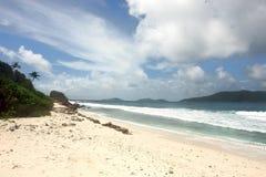 Plage Seychelles. La Digue d'île. Image libre de droits