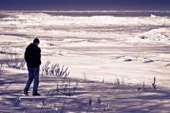 Plage sombre d'hiver Photos stock