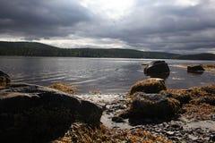 Plage sombre de lac image stock