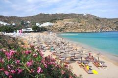 Plage sur l'île grecque Mykonos Photographie stock libre de droits