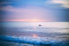 Plage svp Rocky Beach Sunset, Pondicherry image stock