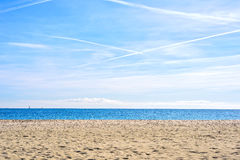 Plage étonnante Platja Nova Icaria ou Barceloneta de Barcelone de vue de mer Photographie stock