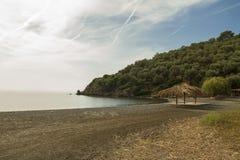 Plage tranquille en île de Lesvos, Grèce Photo stock