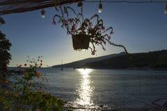Plage tranquille en île de Thassos de la Grèce Photo stock