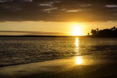 Plage tropicale au coucher du soleil avec des couleurs d'or photos libres de droits