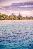 Plage tropicale de coucher du soleil Palmiers et ciel crépusculaire Voyage et paysage idylliques de vacances d'été photographie stock libre de droits