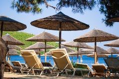 Plage tropicale en île de Skiathos, Grèce Image libre de droits