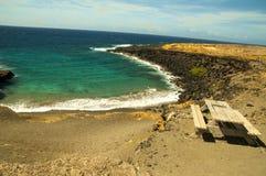 Plage verte de sable sur Hawaï Image stock