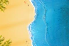 Plage vide d'en haut Mer et à sable jaune bleus avec de petites coquilles et étoiles de mer Photo stock
