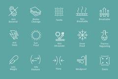 Plagg och tygrekvisitasymboler gillar waterproofing antibacterialen, snösolskydd royaltyfri illustrationer