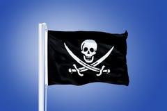 Plagiër vlag die in de wind blaast Heel Roger is de naam die nu aan om het even welk van diverse vlaggen wordt die worden gevlog stock afbeeldingen