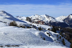 Plagne Aime 2000, Winter landscape in the ski resort of La Plagne, France Stock Photo