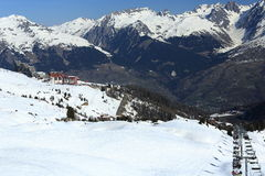 Plagne Centre, Winter landscape in the ski resort of La Plagne, France Royalty Free Stock Images