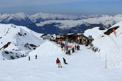 Plagne Centre, Winter landscape in the ski resort of La Plagne, France Stock Image