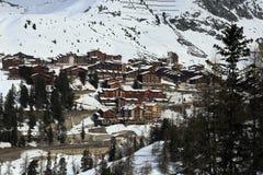 Plagne Centre, Winter landscape in the ski resort of La Plagne, France Royalty Free Stock Photos