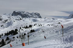 Plagne Centre, Winter landscape in the ski resort of La Plagne, France Royalty Free Stock Photo