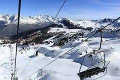 Plagne Centre, Winter landscape in the ski resort of La Plagne, France Royalty Free Stock Image