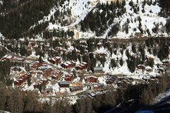 Plagne 1800, Winter landscape in the ski resort of La Plagne, France Royalty Free Stock Image