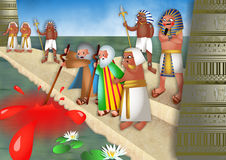 The Plague of Blood. A cartoon biblical illustration showing Moses and Aaron standing before pharaoh by the river Nile in Egypt and turning the water into blood royalty free illustration