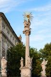 Plague Column at Fish Square in Bratislava. Travel to Bratislava city - Plague Column at Rybne Namestie (Fish Square) in Bratislava Stock Images