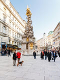 Plague column on Graben historical street Vienna Stock Photography