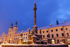 Plague column on Main Square in Hradec Kralove Royalty Free Stock Image