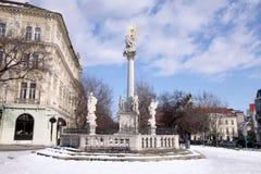 Plague Column of St.Trinity, Bratislava, Slovakia. Winter cityscape Royalty Free Stock Images