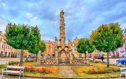 Plague Column in Telc, Czech Republic. Plague Column on the main square of Telc, Czech Republic Royalty Free Stock Image