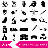 Plague and disease theme simple black icons collection eps10 Stock Image