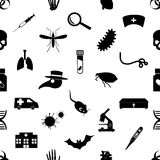 Plague and disease theme simple black icons seamless pattern eps10 Stock Image