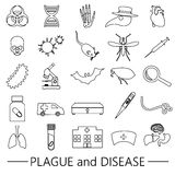 Plague and disease theme simple black outline icons collection eps10 Royalty Free Stock Photography