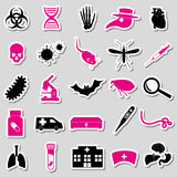 Plague and disease theme simple stickers collection eps10 Stock Images